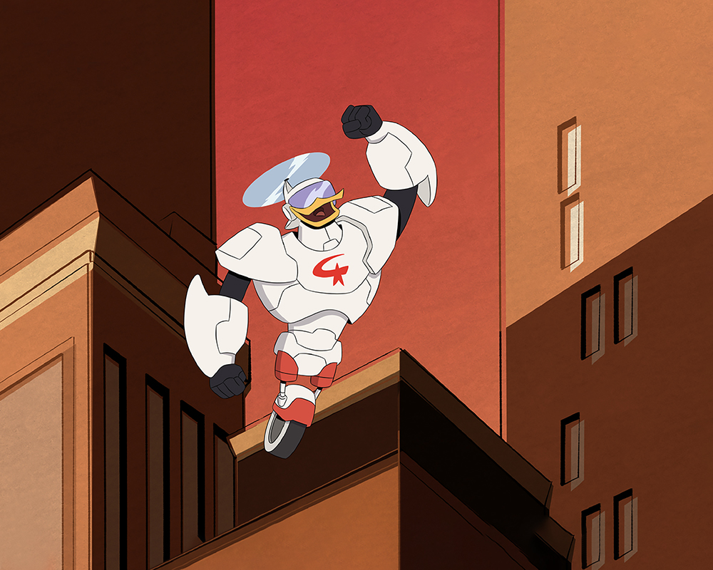 """Gizmoduck"" flying 