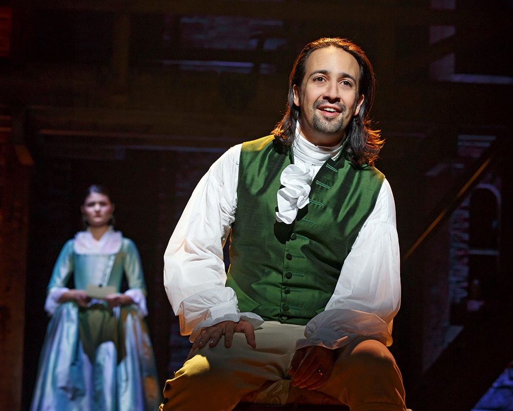 "Lin-Manuel Miranda as ""Alexander Hamilton"" and Phillipa Soo as ""Elizabeth Schuyler Hamilton"" 