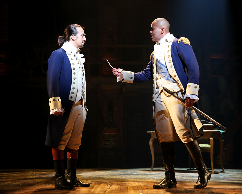 "Lin-Manuel Miranda as ""Alexander Hamilton"" and Christopher Jackson as ""George Washington"" 