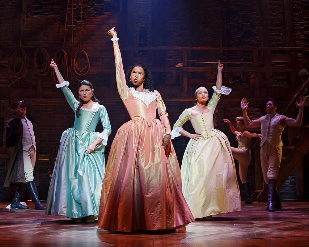 "Phillipa Soo, Renee Elise Goldsberry, Jasmine Cepas Jones as ""The Schuyler Sisters"" 