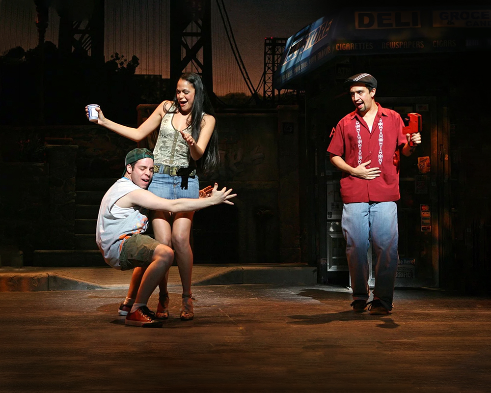 "Robin de Jesus as ""Sonny,"" Karen Olivo as ""Vanessa,"" and Lin-Manuel Miranda as ""Usnavi"" 