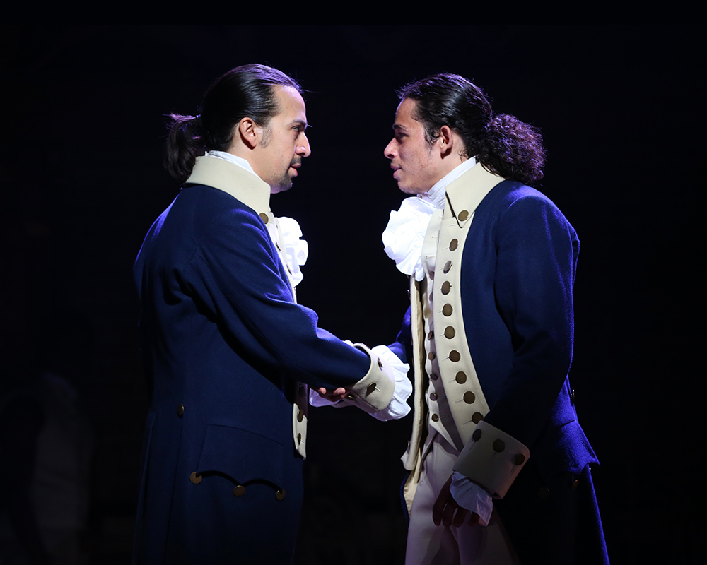 "Lin-Manuel Miranda as ""Alexander Hamilton"" and Anthony Ramos as ""John Laurens"" 