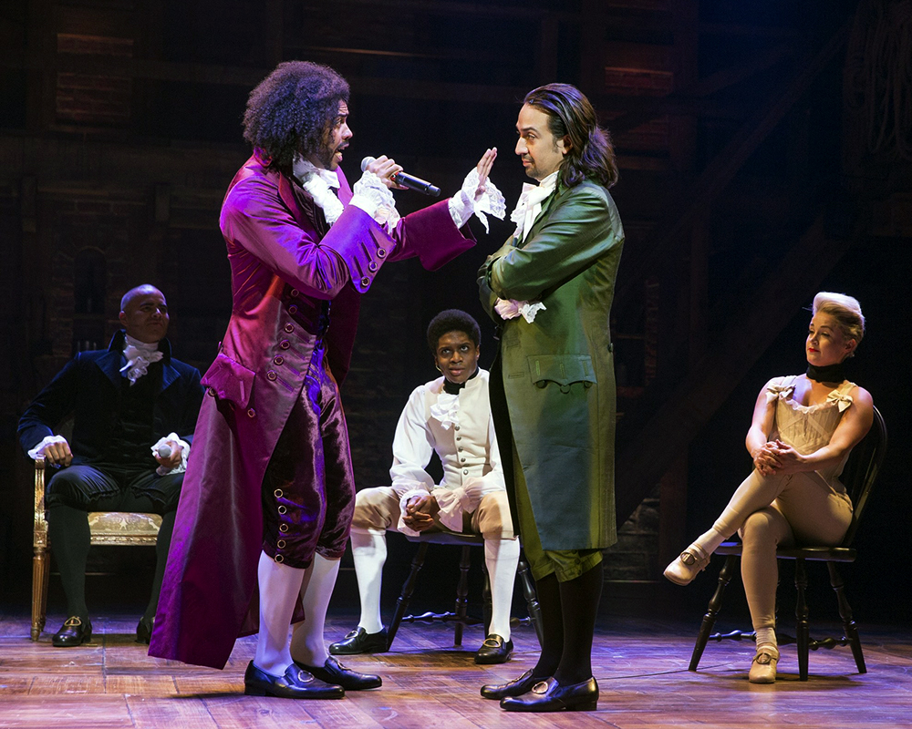 "Daveed Diggs as ""Thomas Jefferson,"" Lin-Manuel Miranda as ""Alexander Hamilton"" and ensemble 