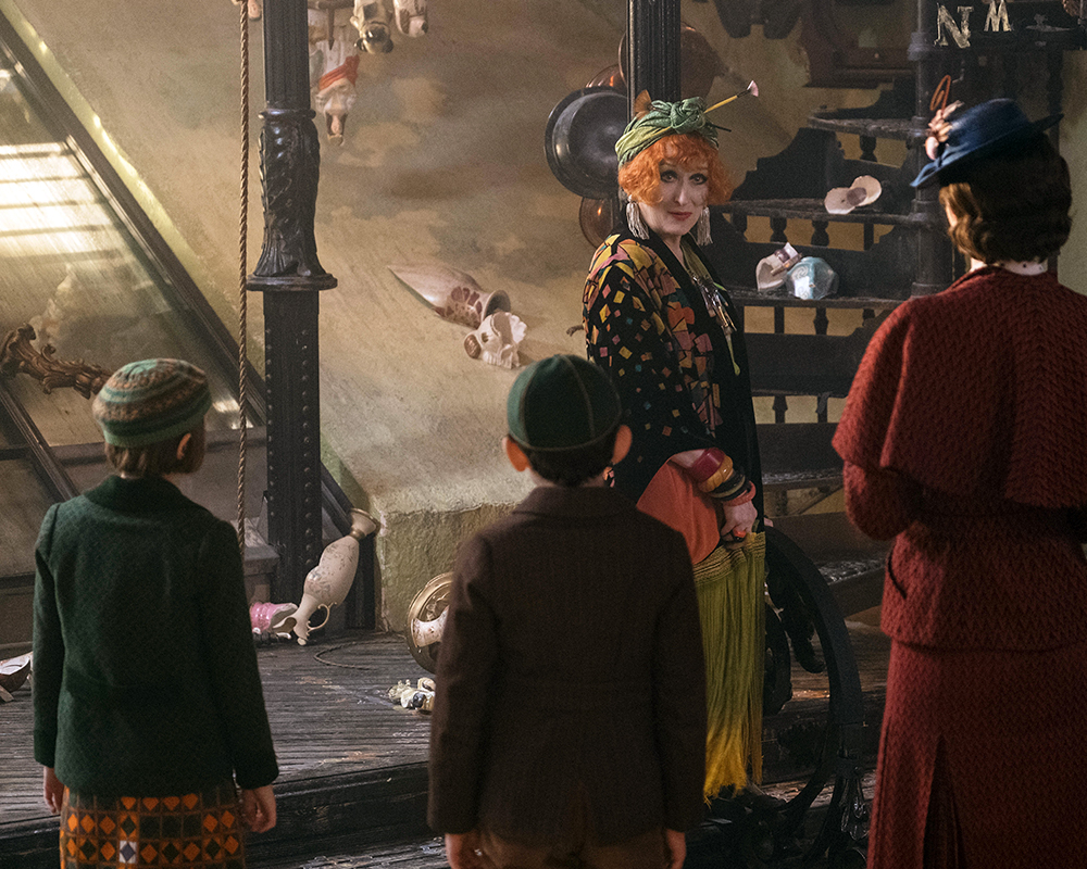 Emily Blunt is Mary Poppins, Meryl Streep is Cousin Topsy, Pixie Davies is Annabel Banks and Nathanael Saleh is John Banks in Disney's MARY POPPINS RETURNS, a sequel to the 1964 MARY POPPINS, which takes audiences on an entirely new adventure with the practically perfect nanny and the Banks family.